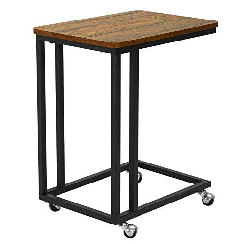 Meerveil Tavolino da divano, Tavolino Laterale da Letto con Ruote, Industriale Tavolo Mobile da Caffè con Struttura in Metallo, Tavolino per laptop Carrello porta snack a forma di C, Marrone