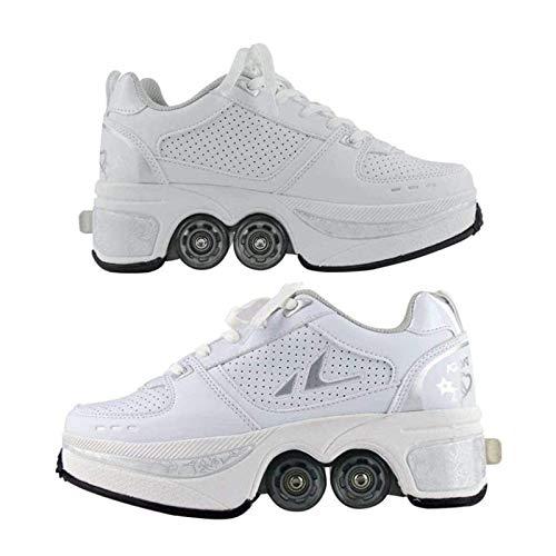 Pinkskattings@ Multifunktionale Deformation Schuhe Quad Skate Rollschuhe Skating Outdoor Sportschuhe Für Erwachsene Rollerskates Disco Roller Skate Indoor Outdoor,42