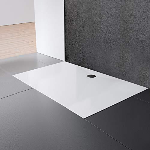Schulte EP214024 04 Duschwanne Schulte-plan Rechteck, 90 x 120 cm, Mineralguss, alpinweiß, inkl, Füße und Ablauf, für bodengleiche Montage