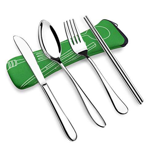13peas bestekset, 4 stuks, draagbaar, duurzaam, rood, roestvrij staal, voor camping, catering, evenementen, familiebijeenkomsten, camping