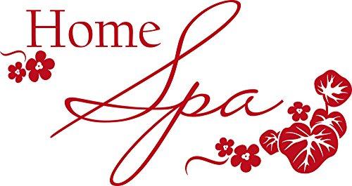 GRAZDesign 650149_30_031 Wandtattoo Wellness Home Spa - Fliesen-Tattoo-Aufkleber für Badezimmer/WC/Kosmetikstudio (57x30cm // 031 rot)