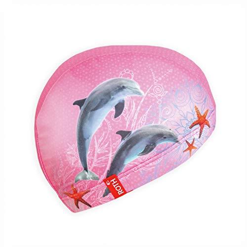 ROTH Badekappe aus Stoff für Kinder von 4-9 Jahren, Mädchen - Motiv 'Delfin' - rosa