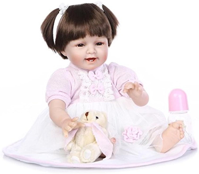 Nicery Reborn Baby Puppe Weich-Simulation Silikon-Vinyl 22inch 55cm Magnetisch Mund Naturgetreue Nette Kinder Spielzeug Lächeln Rosa-Kleid-Perücke mit Acrylaugen Doll B01IA8G3P4 Neuer Eintrag   