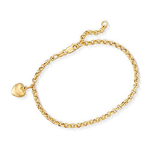 Ross-Simons Italian 18kt Yellow Gold Heart Charm Bracelet