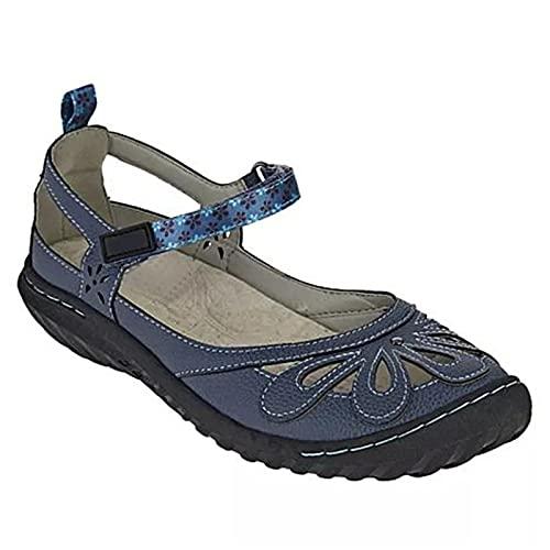 Tieguo - Sandalias de ocio de verano para mujer de moda ahueca hacia fuera patrón zapatos punta redonda talón pendiente color sólido