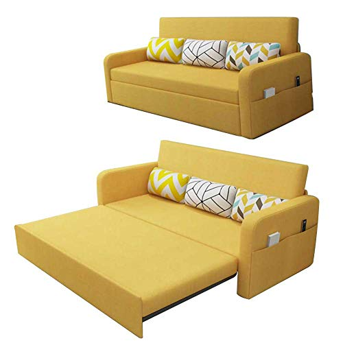 RJMOLU Protable Lazy Couch with Pull-Out Bed Double Folding Sofa Bed Linen Fabric Reversible Sofa Couch Sectional Sofa Sleeper Sofa for Living Room,A,Latex filling