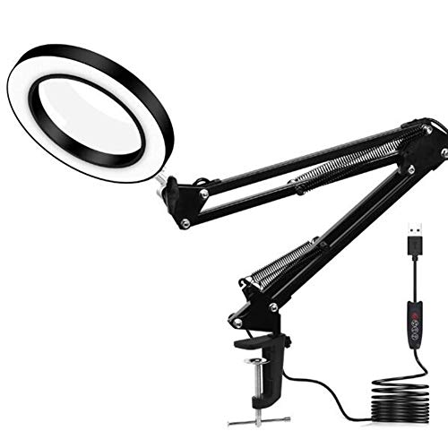 Die Wartungsbeleuchtung Der Lupe Mit Einem Clip USB-Schnittstelle LED-Beleuchtung, Die Lupe Lesegerät Einstellbare Beleuchtung Arm Lampe,Schwarz,22cm