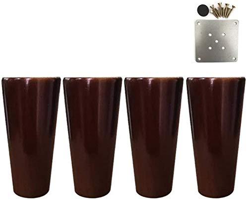 ZJDU Patas para muebles de madera maciza, patas rectas de sofá cónicas, patas de soporte cónicas para mesa de café, patas de soporte para muebles de bricolaje (12 cm, 15 cm)