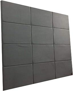 Cabeceira Estofada Solteiro Bloco Alce Couch Suede Liso Cinza 100cm x 90cm