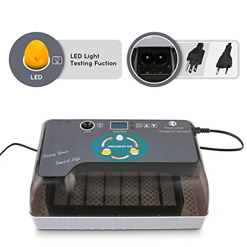 Egg Incubator, Mini Digital Fully Automatic 9-35 Eggs Incubator Poultry Hatcher with Led Candler and Auto Turning for Chicken Ducks Goose Birds Eggs