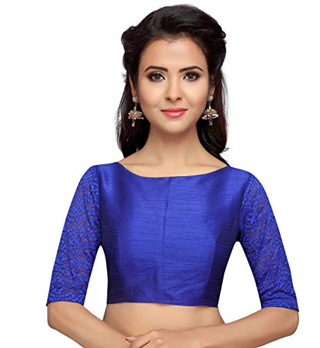 STUDIO Shringaar Women's Readymade Saree Blouse With Elbow Length Lace Sleeves (Royal Blue, 40)