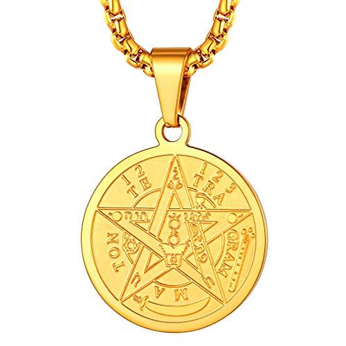 FaithHeart Sello de Salomón Medalla Redonda Colgante Acero Inoxidable Collar Religioso Judío Joyería Milagrosa de Protección para Hombre y Mujer Moneda Circular