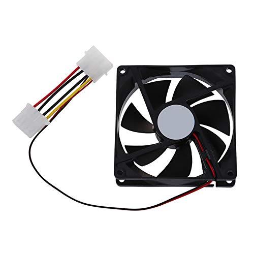 Radiador del ventilador DC 12V de 4 pines Negro plástico de la PC Ventilador 90mm x 90mm x 25mm (Blade Color : Black)