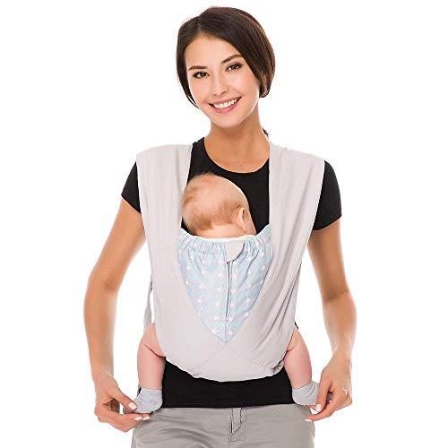 Cuby Best - Portabebe, portabebés orgánico de algodón acogedor, tipo X, portabebés, portabebés ergonómico Kanguru calificado (plata nueva)