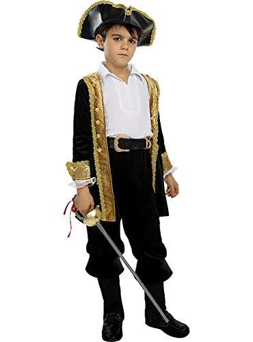 Funidelia | Disfraz de Pirata Deluxe- Coleccin Colonial para nio Talla 10-12 aos Corsario, Bucanero - Color: Negro - Divertidos Disfraces y complementos