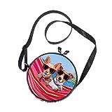 Emoya Bolso bandolera para perros, hamaca, playa, palmera tropical, círculo, bolsa de hombro, bolsa de playa redonda