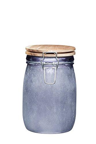 KitchenCraft Pot de conservation alimentaire en verre avec couvercle hermétique en bois, 1 L (1,75 pts) – Finition béton