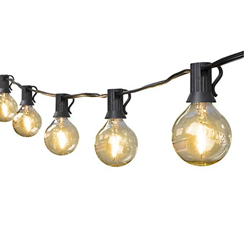 Led Outdoor String Lights, 2PACK 25Ft Patio Lights with 25+2 LED Globe Bulbs, UL Listed Weatherproof Commercial Outdoor & Indoor Décor Hanging Lights for Garden Backyard Bistro(2 Pack=50FT 54 Bulbs)