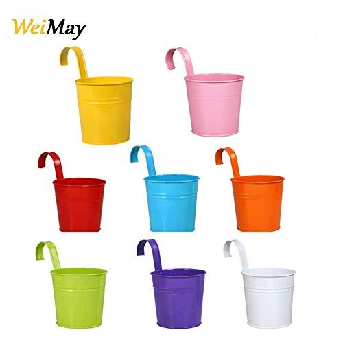 WeiMay Lot 8 pcs Pots de Fleurs Suspendu Colorés en Metal Pot de fleur Décoration Jardin Maison Balcon