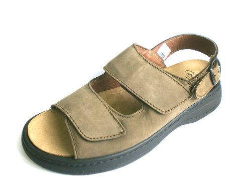 Turm-Schuh Herren Sandale, Olive/grün, Nubukleder, echt Leder (39)