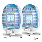 GLOUE Indoor Bug Zapper, 2021 Upgrade Mosquito Killer Electronic Insect Killer Fly Trap, Mosquito Zapper with Blue Lights for Home, Kitchen, Bedroom, Baby Room, Office (2 Packs)