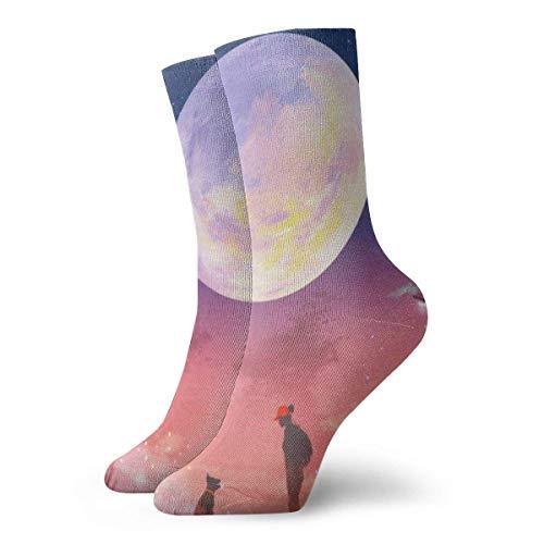 Verctor Hommes Femmes Crew Sock Full Moon View Athletic Socks Short Boot Stocking 30CM