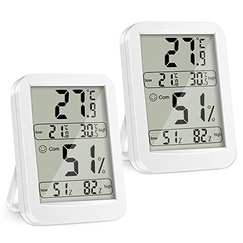 Termómetro Higrometro Digital, 2 Piezas Interior Medidor, Termohigrómetro Profesional con Gran Pantalla, ° C / ° F Conmutable con Sensor para Hogar Ambiente Medición de Humedad y Temperatura (2)