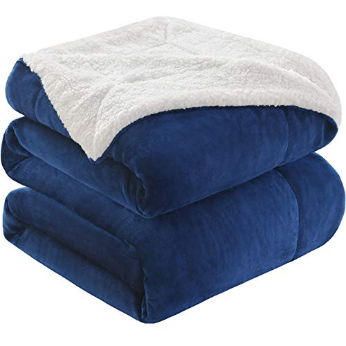 KAWAHOME Sherpa Fleece Blanket Super Soft Extra Warm Thick Winter Blanket for Couch Sofa Bed Twin Size 66 X 90 Inches Navy Blue