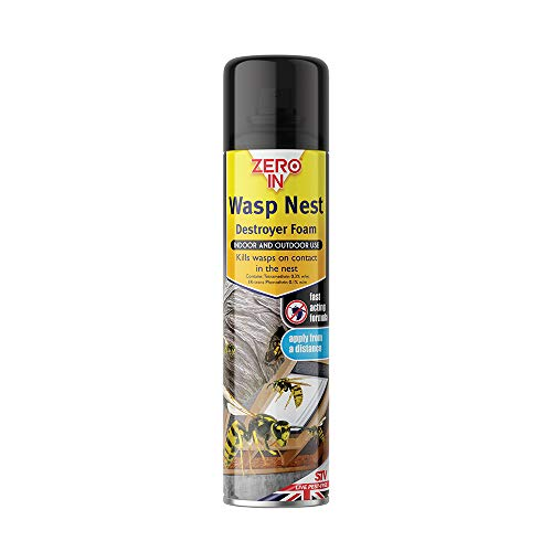 Zero In Wasp Nest Killer Foam (Indoor and Outdoor Treatment for Wasps Nests, Sufficient for 2-3 Applications, Suitable for Home and Garden use), 300 ml
