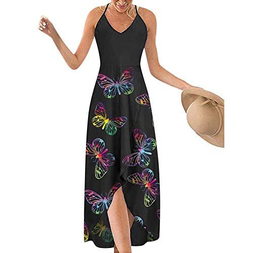 URIBAKY - Vestido largo con tirantes para mujer, cuello en V, estampado casual, vestido largo con cuello en V, vestido de fiesta, vestido grande A multicolor. L