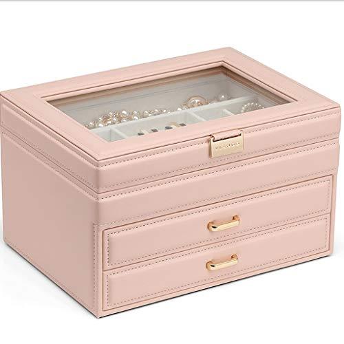 LCM Caja de almacenamiento de joyas, pendientes, collares, joyas, banda de goma, caja de almacenamiento multicapa para pequeños adornos (color: blanco)