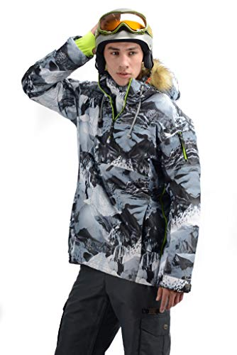 Stayer sportjack winterjas thermo-jas unisex dames heren freeride snowboad-jas ski-jack camouflage bont-capuchon jungle grijs