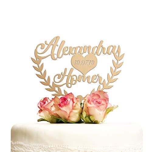Cake Topper Hochzeit personalisiert Holz mit Namen Datum Kuchentopper Herz Hochzeitstorte Tortenaufsatz Tortendeko Deko Hochzeitsgeschenk
