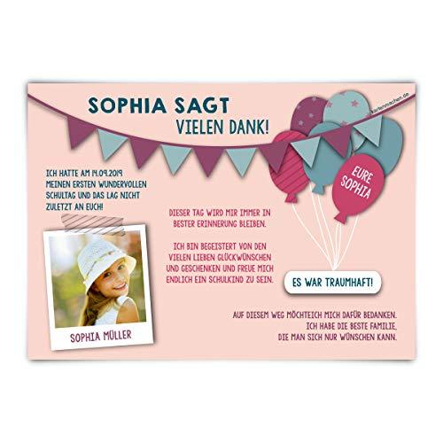 30 x Dankeskarten zur Einschulung individuell mit Text und Foto DIN A6 148x105mm - Fahnen Girlande in Rosa