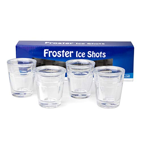 Froster Ice Shots, Juego de 4 vasos de chupito de vodka 50 ml para congelar, Regalo para hombre, Chupitos originales (transparente)