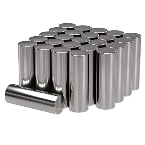 MAGNETE.COM 25x Neodym Power Magnet Silber | Stabmagnet extra stark lang | Stab Durchmesser 4 mm x 12 mm lang | 25 Neodymium Magnets Strong Long Magnetic Stick | Starke Magneten Supermagnet