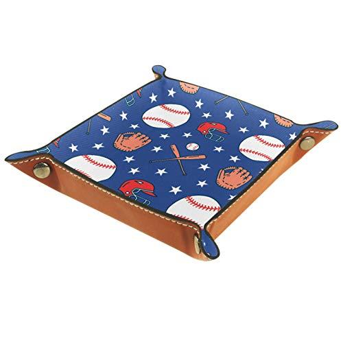 AITAI Valet Tray veganes Leder Nachttisch-Organizer Schreibtisch Aufbewahrungsplatte Catchall Sport Baseball Elemente Handschuhe Kappe Blau