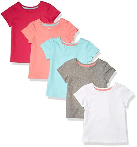 Amazon Essentials Short-Sleeve T-Shirts Playwear-Dresses, 5er-Pack, Mehrfarbig, 11-12 Jahre, 3er