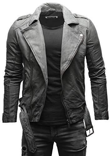 Crone Fynn - Chaqueta de piel para hombre, estilo motero, básica, de piel auténtica, con cinturón y cuello de solapa Vintage Buffed Grey (nubucker) XL