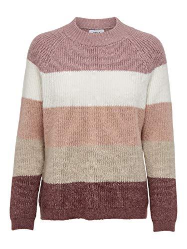 Only ONLJADE L/S Stripe Pullover EX KNT Suéter, Apple Butter/Stripes:w. Misty Rose/CD/Ash Rose/Pumcie Stone, M para Mujer