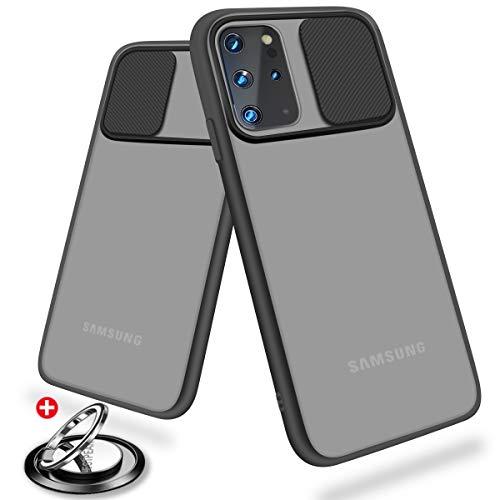 Hülle Kameraschutz kompatibel mit Samsung Galaxy S20 5G,[Kamera Schutz] [mit 360 Grad Ring Ständer]Slide Kamera Schutz Handyhülle Matte Translucent weich Kanten Stoßfest Anti-Scratch (Schwarz)