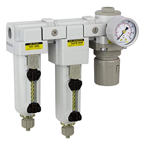 PneumaticPlus SAU3030M-N03G-MEP Three Stage Air Drying System - Air Particulate Filter, 0.3 Micron Coalescing Filter & Air Pressure Regulator Modular Combo 3/8' NPT - Manual Drain, Metal Bowl