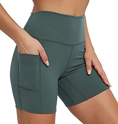 "Rataves Women's 6"" Athletic Yoga Shorts with Pockets Tummy Control High Waisted Workout Running Walking Compression Shorts for Gym Biker Home Outdoor L Olive"