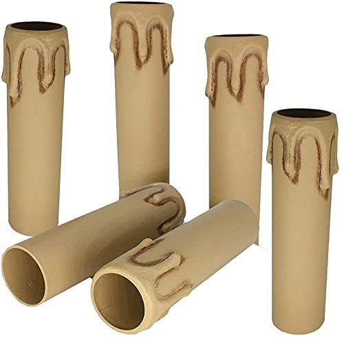 6 portalampada E14, 85 mm, marrone anticato, con gocce ø 24 mm, interno in plastica opaca, per candele, lampadari, portalumi, portalumino rustico