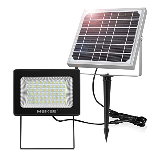 Foco Solar Exterior MEIKEE 60 LED Foco Solar 300LM, Lámpara Solar para Jardín, lluminacion Exterior IP66 Impermeable, Panel Solar con Batería 4000mAh, Para Jardín, Garaje, Patio - Blanco Frío (6000K)