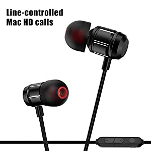SAN.COMO Bluetooth Headphones,Wireless Earbuds Sweatproof Earphones Magnetic Attraction Stereo Headphones for Running Workout Gym Noise Cancelling (XS-Black)