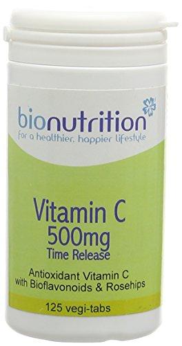 Bio Nutrition Vitamin C 500mg Time Release - Antioxidant Vitamin C with Bioflavonoids - 125 vegi-tabs