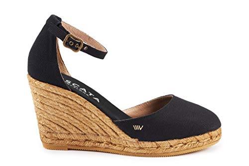 VISCATA Estartit - Elegantes y cómodas alpargatas de lona, con cuña de 7,6cm, abrochadas al tobillo, de punta cerrada y fabricadas en España, color negro, talla 39 M EU/ 8 M US