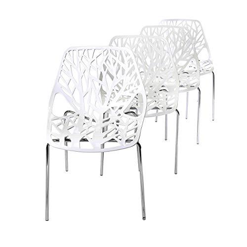 Makika Retro Stuhl Design Stuhl Esszimmerstühle Bürostuhl Wohnzimmerstühle Lounge Küchenstuhl Sitzgruppe 4er Set aus Kunststoff mit Rückenlehne CALUNA in Weiß