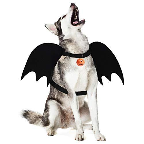 Dorakitten Hunde Halloween kostüm, Hund Fledermaus Kostüm Fledermausflügel Hund Kostüm mit Leine Kürbis Glocke und Ring für Cosplay Party Halloween Special Events